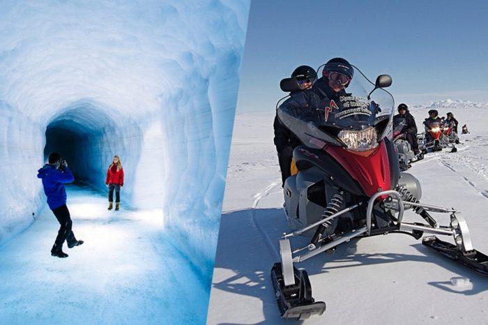 """Motos de nieve + cueva de hielo en el glaciar Langjökull <h5 style=""""font-size: 17px; line-height: 2.1rem; background-color: #697FA9; color: #ffffff; display: inline-block;""""> Audioguía en español </h5></br> <h5 style=""""font-size: 17px; line-height: 2.1rem; background-color: #F76D60; color: #ffffff; display: inline-block;""""> desde 250€ </h5></br>"""